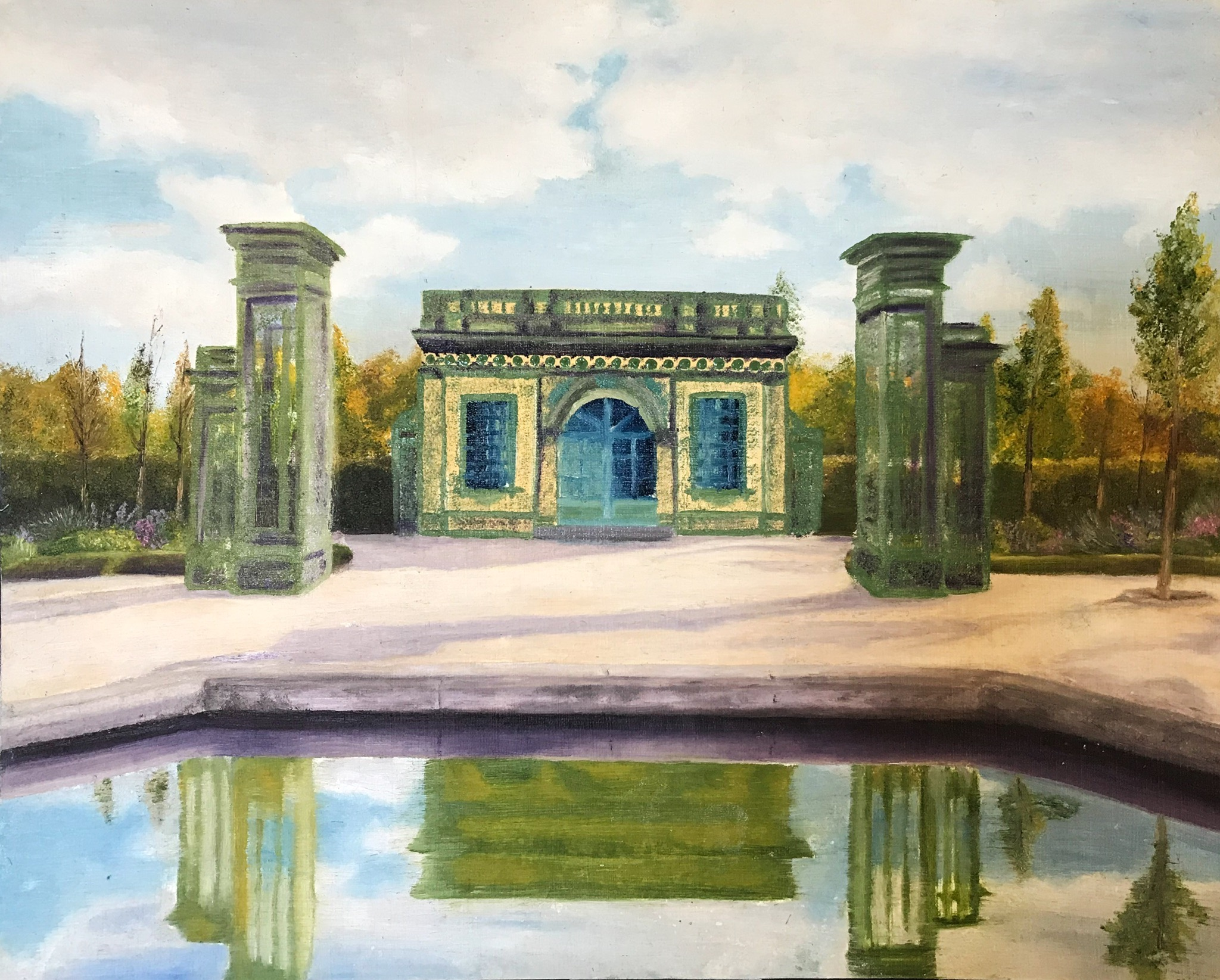 "Palace of Versailles  NFS Oil on Paper 8""x10"""