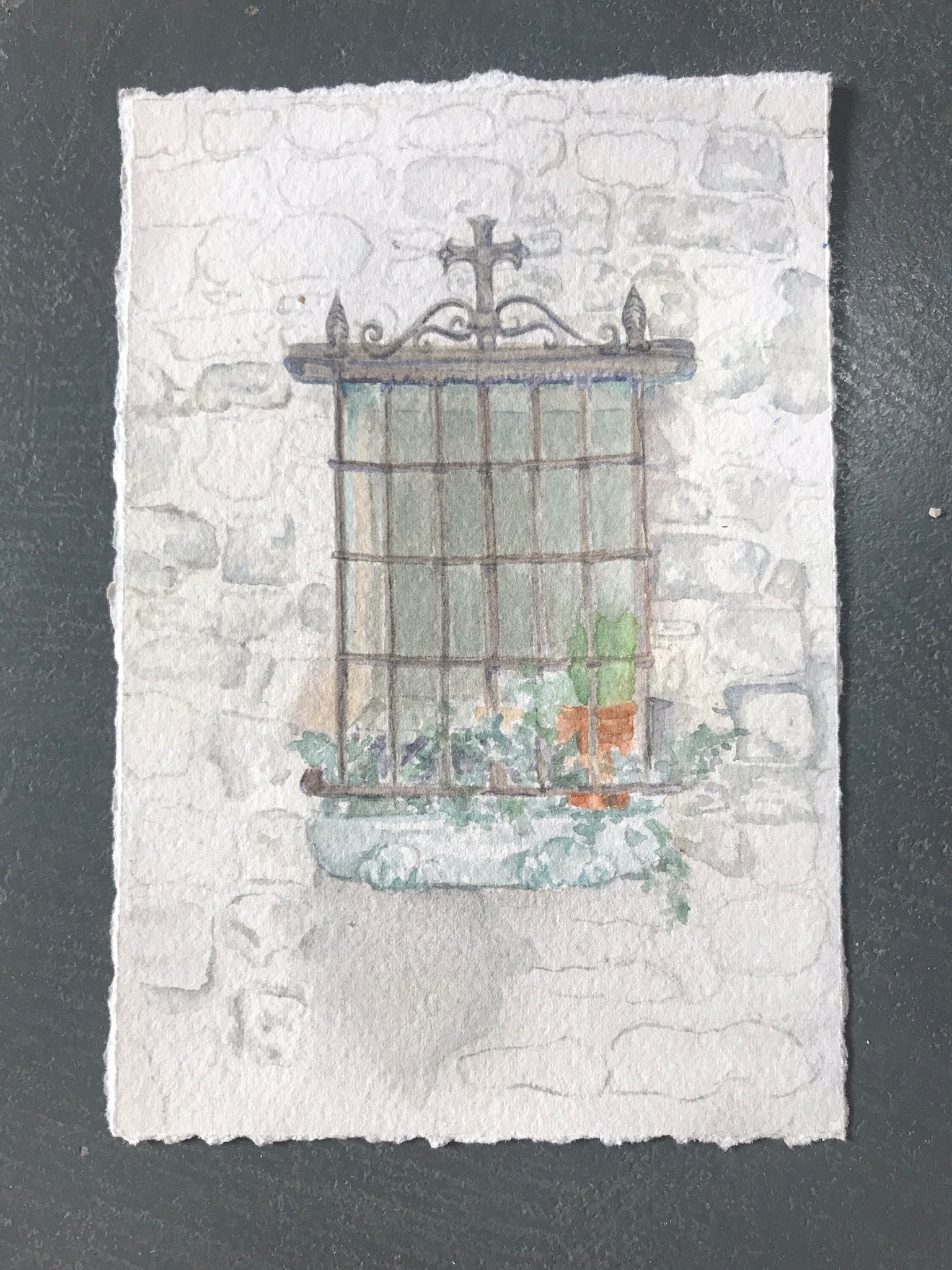 "Window in Bonnieux, France  $50 Watercolor on Paper 6""x6"""