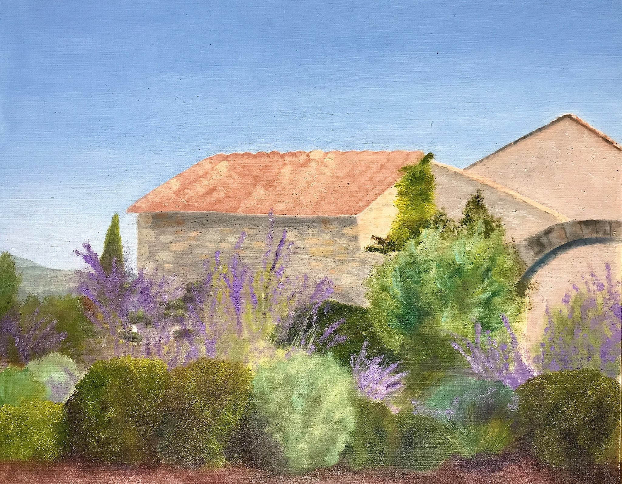 "Lacoste, France  $200 Oil on Paper 8""x10"""