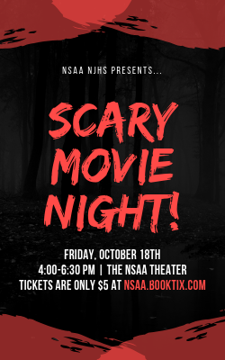 Red Brush Strokes Movie Night Halloween Flyer.png
