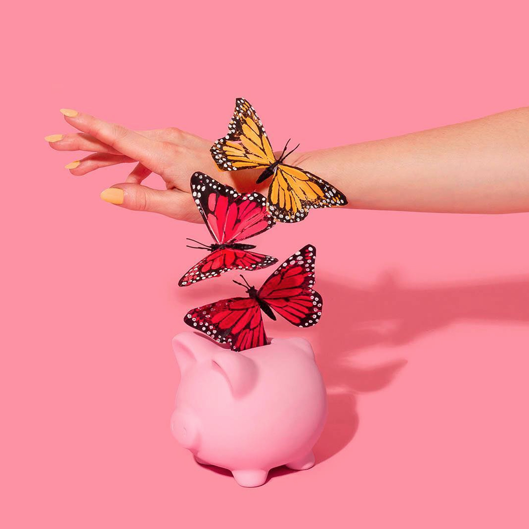 Butterfly from pink Piggy bank moneybox | Amy Shamblen, creative photographer | Masters of Content Creation,  The Content Designer Blog.