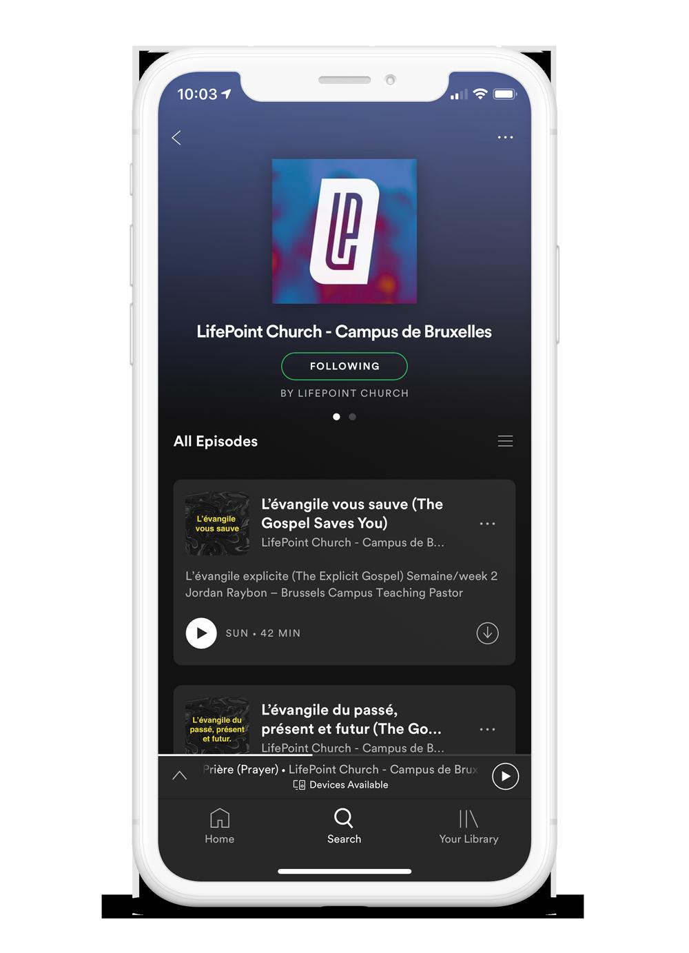 Écoutez les sermons sur Spotify -