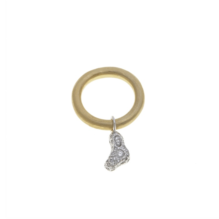 Amoeba Ring, 14K White Gold Diamonds and Brass, ring is 2.5 mm in diameter and amoeba charm is 10 mm long and 3 mm thick, 2014