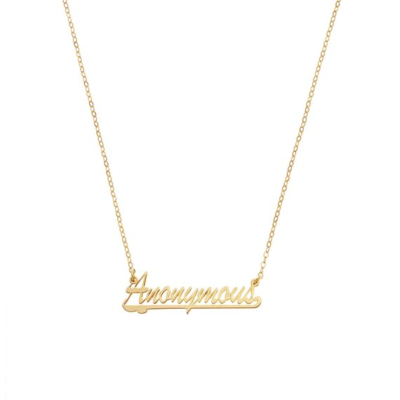 Anonymous Name Plate Necklace, 14K Yellow Gold, 16 inch chain, 6mm x 30 mm, 2012
