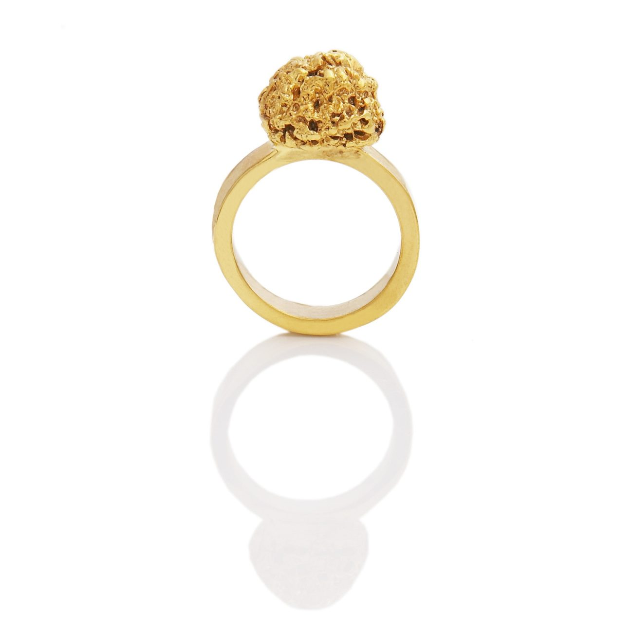 Golden Truffle Ring, Solid 18K Yellow Gold, Truffle is 10mm high, 10mm in diameter, band is 5mm wide and 2mm thick. 2010