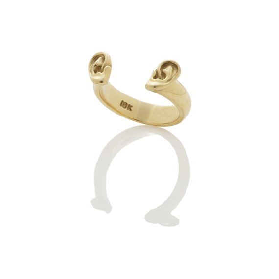 Ear Ring, 18K Yellow Gold,  Ears are 7mmx4mm each, band is 4mm wide , 2010