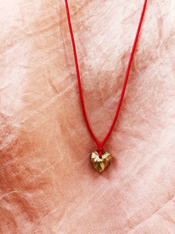 Rough Heart, Brass and Cotton Cord, The heart charm is 10mmx9mm. The cord is adjustable up to 80mm (40mm drop), 2015