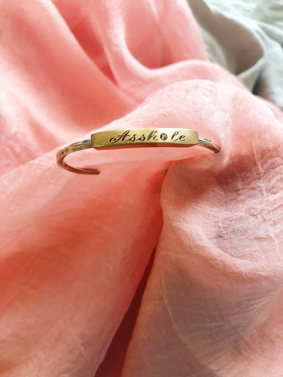 Assh*le Hand Lettered ID Cuff Bracelet, Sterling Silver and Gold and Diamond, 2015