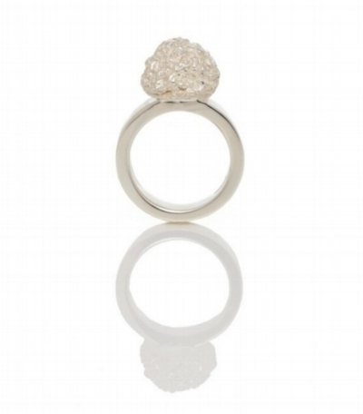White Truffle Ring, Sterling Silver, Truffle is 10mm high, 10mm in diameter, band is 5mm wide and 2mm thick, 2010