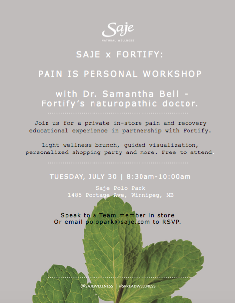 Pain is Personal Workshop - Fortify x Saje Wellness - Dr. Samantha Bell, Naturopathic Doctor