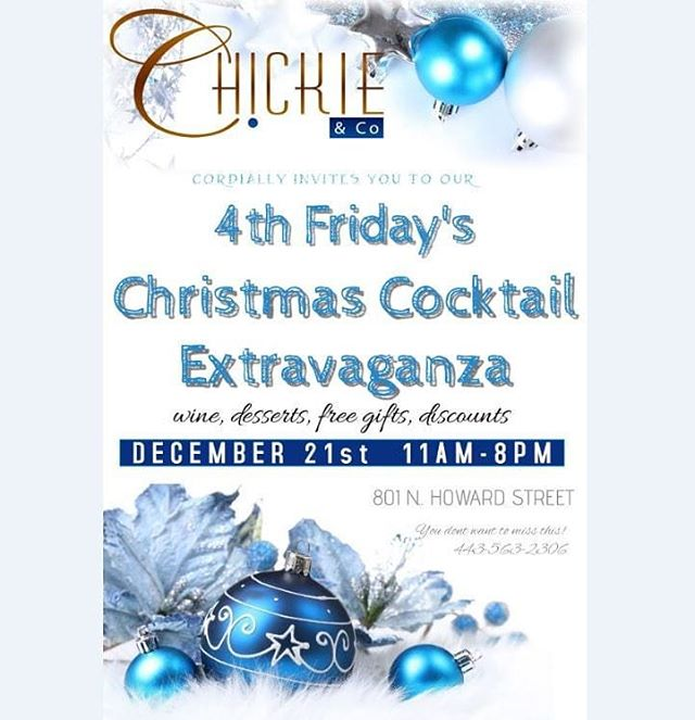 ***TOMORROW*** you do not want to miss Chickie & Co.'s 4th FRIDAYS CHRISTMAS COCKTAIL EXTRAVAGANZA!!! FRIDAY 12/21/2018 11am - 8 pm  COME AND ENJOY WINE, DESERTS, FREE GIFTS AND SPECIAL DISCOUNTS! * * * * * #winterwardrobe #winterfashion #christmasshopping #chickieandco #luxury #boutique #boutiqueshopping #baltimore #maryland #baltimorefashion #letusdressyou #instafashion #trends #couturefashion #dressup #dresses #coats #coatseason #christmas #cocktail #extravaganza