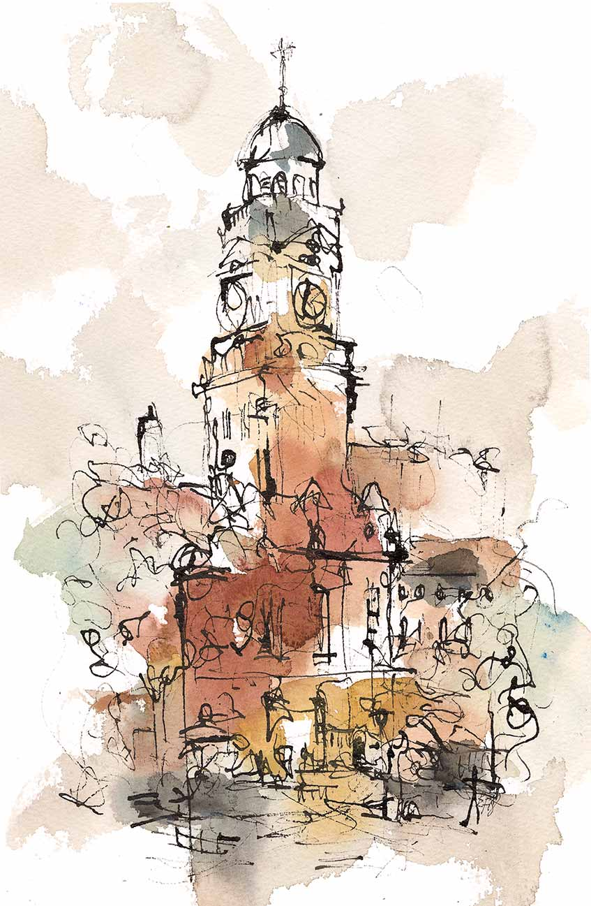 Town Hall, Leicester Mixed Media Framed 48cm x 35cm