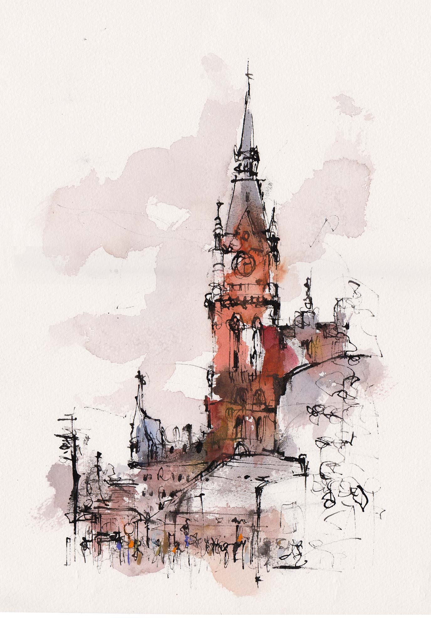 ST PANCRAS STATION  Ink and watercolour