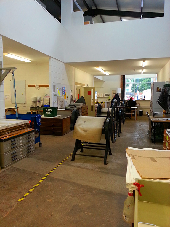 Photos of the Leicester Print Workshop studio
