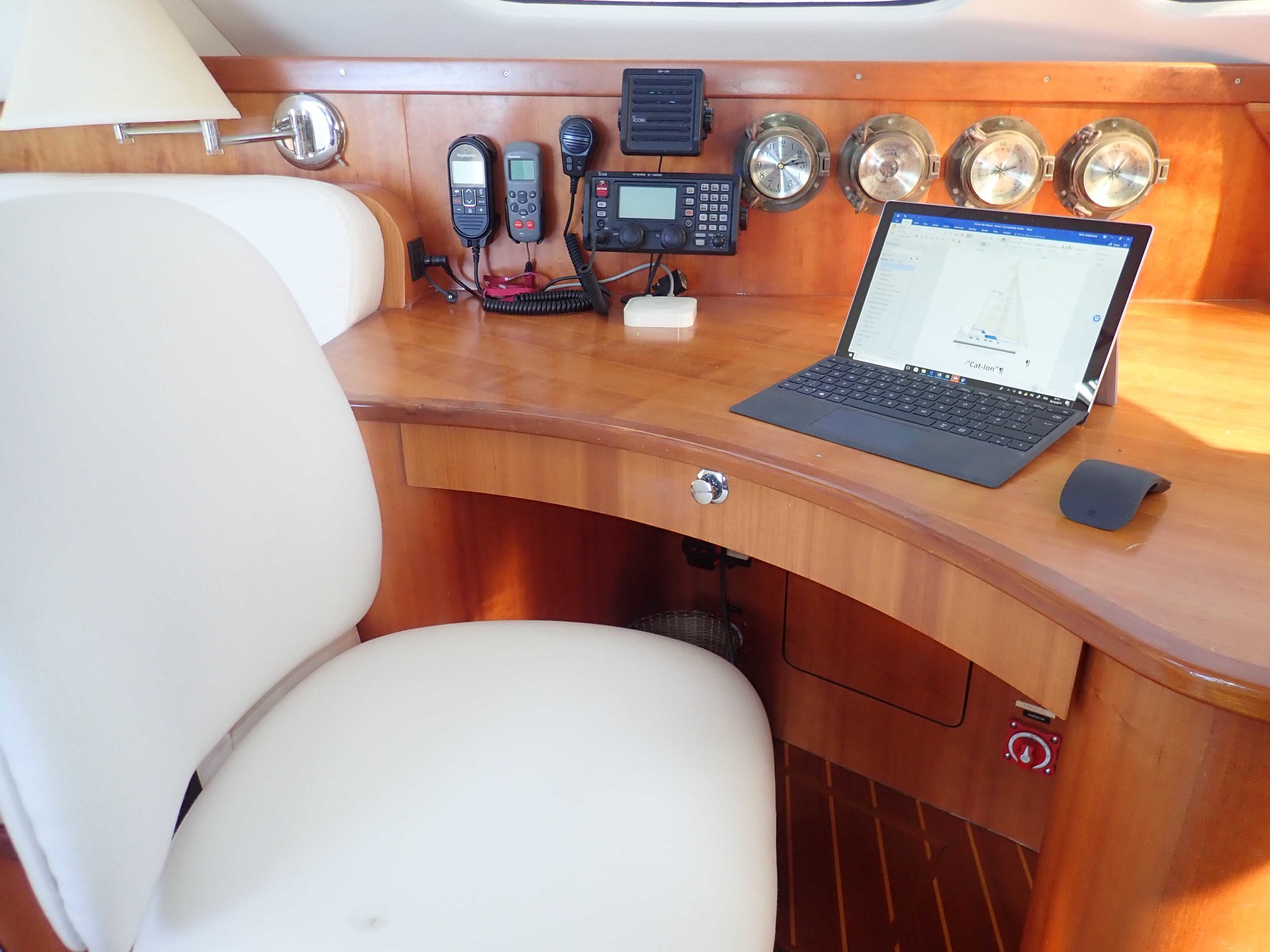 Additionally - Raymarine VHF DSC, autohelm, digital radar, AIS, instruments, Sirius weather, LifeTag man overboard, E127 hybrid touchscreen MFD, C95 MFD, Smart Pilot, RCU-3 remote and iPAD/iPhone network screen Apps.ICOMM M802 MF/HF long range communicationLewmar powered helm control & Whitlock Mamba shaft and gearbox systemQuick 1400 electric windlass, Harken powered winchesSelden mast with track and roller batt cars, Furlex 400S jib & Harken screecher furler.Sail set includes: - fully battened Main with antal clew, roller furling Genoa, roller furling Screecher, self tacking Jib, assymetrical Spinnaker.85–265 VAC 50/60Hz battery chargers allow any shore power to be connected, with inverted 120 VAC 60Hz maintained aboard.FM/AM/Sirius radio (lifetime subscription), Toshiba HDTV, Apple TV, AirPort Express music streaming, Badboy WIFI booster.120VAC outlets, LED lighting, dimmable LED, USB charging outlets throughout. Paneltronics 120VAC and 12VDC breakersLED automatic mast head anchor lights, LED navigation lights, red/white cockpit lights, deck lights, remote control davit lights, blue stern underwater lights.LPG gas hob, LPG oven, microwave combination oven, LPG Magma BBQ, Splendide 1200S washer-drier.Offshore flare packs, life jackets, EPIRB, Life Sling, DAN buoy, throwing lines & buoyancy ring, emergency tiller.