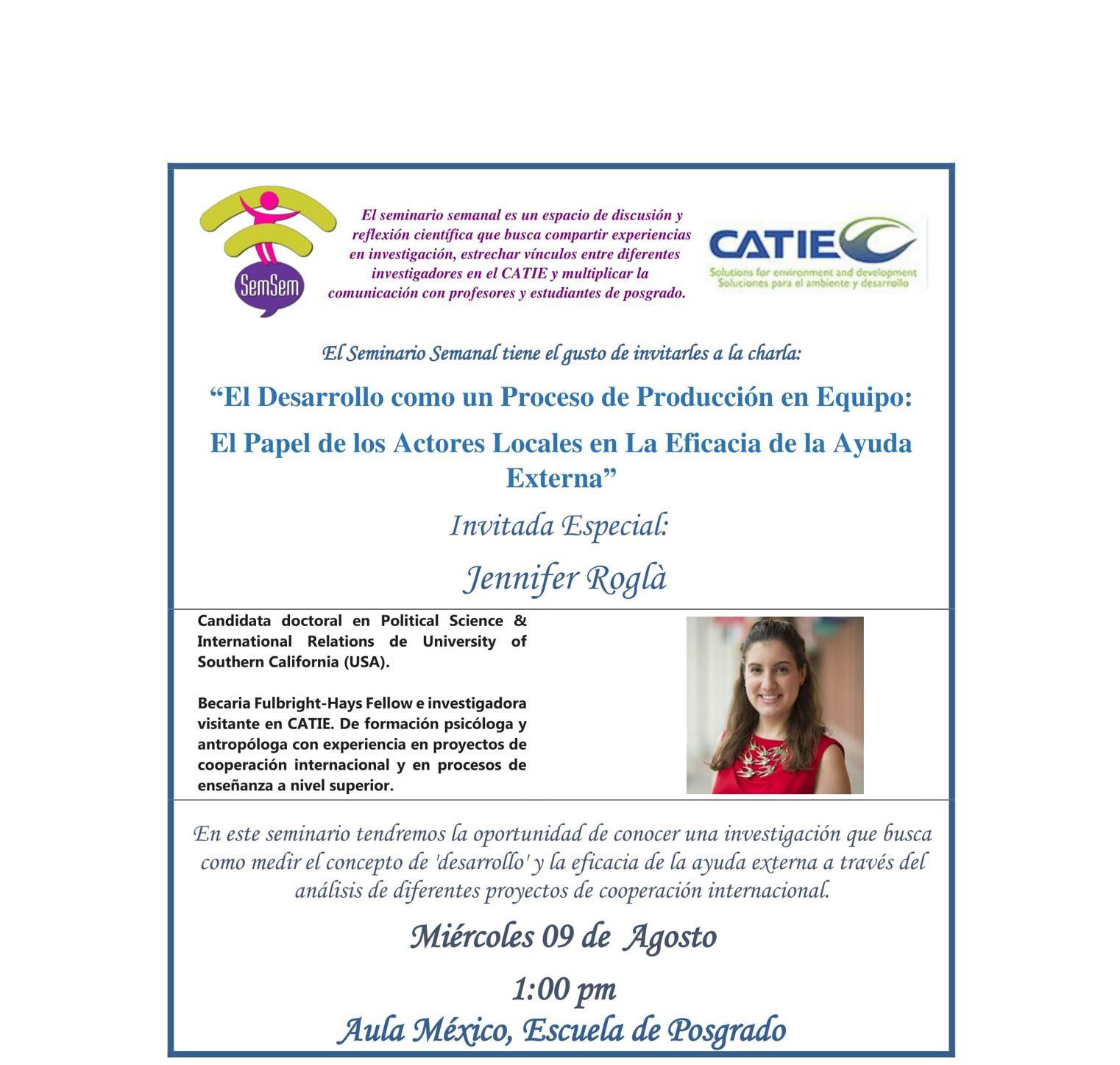 Speaking: Presentation at the CATIE SemSem