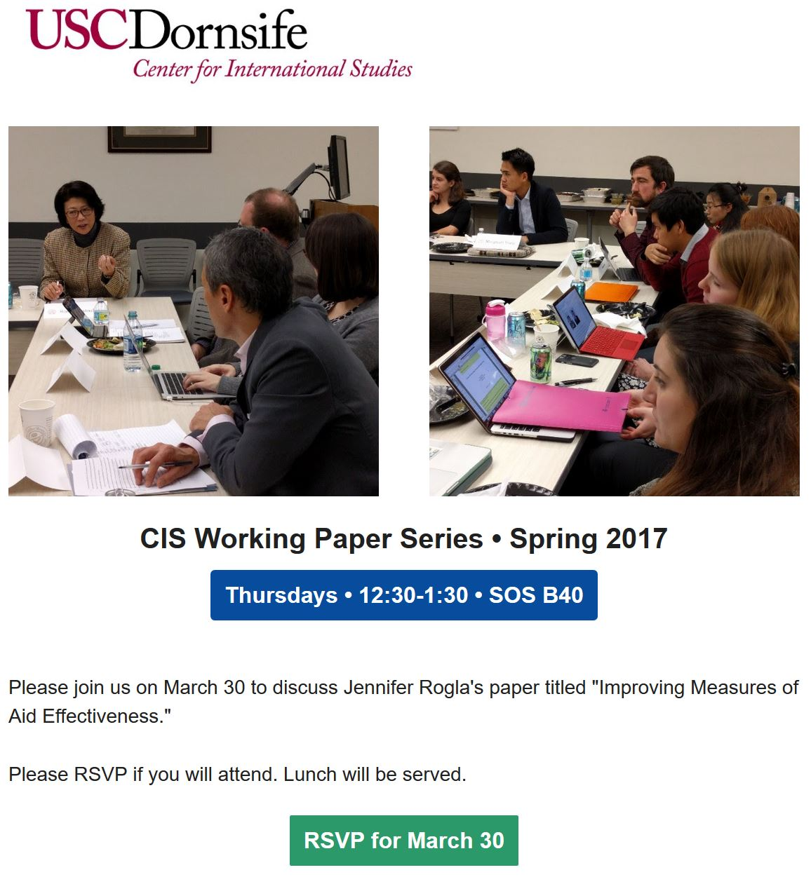 Speaking: Presented at the USC CIS Working Paper Series