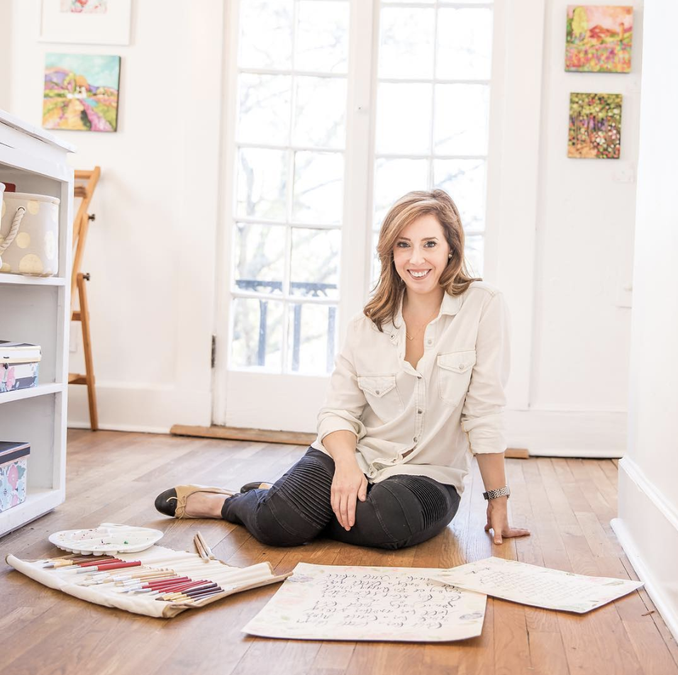 """About The Cardinal Collective - The Cardinal Collective began when my now 6-year-old was 2 and and we had just moved to a new city. We didn't know many people, and my husband was tiring of the antiques I was bringing home daily from estate sales... so I thought I'd find another hobby (truly).I took Melissa Esplin's fantastic Modern Calligraphy online class at night once the rest of my house was asleep, made my mom (a professional artist) give me some of her leftover brushes and watercolors, and started making pieces for friends as baby and birthday gifts. The last art class I took was in 1991, so most of my training is via observation, research, and YouTube. I bought art books at secondhand bookstores and spilled a lot of ink onto our household upholstery. I joined some Facebook groups for creatives and calligraphers and spent hours watching YouTube tutorials on graphic design programs. One night on a whim I opened an Etsy shop, named it after my favorite color and Grandpa's favorite bird, and listed a print. That's how The Cardinal Collective— originally """"The Turquoise Cardinal""""— was born."""