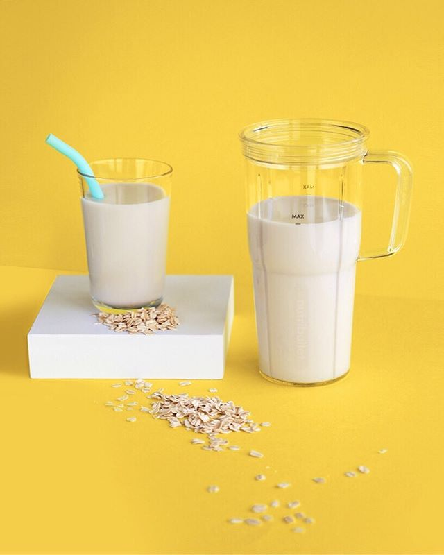 Oatmilk is the new must-have vegan milk, and lucky for you it's super easy to make in your NutriBullet Blender combo 😉  Ingredients 1/2 Cup Oats, rolled, gluten-free 2 Cups Water  Directions Soak oats in water overnight, or for at least four hours. Strain before using. Add ingredients in the order listed and blend until smooth. Strain the oat milk in a nut milk bag or cheesecloth. Pour into an airtight bottle or jar with a lid. Store in the fridge until ready to use, no longer than seven days. Enjoy!