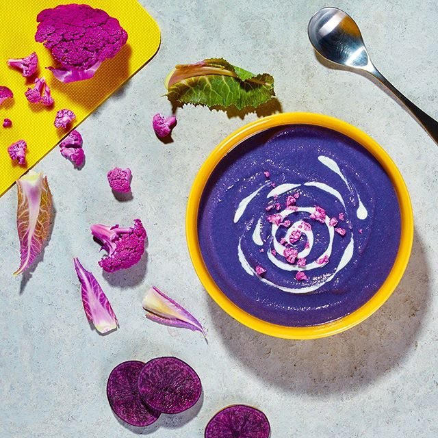 It's been a little chilly so we pulled out our NutriBullet Blender Combo and made this potato soup! 🤤  Ingredients 3 Cups Purple Cauliflower, raw, chopped 6 Purple Potato – washed and halved 8 Garlic, clove 1/2 White Onion 1/4 Cup Olive Oil 2 Cups Vegetable Broth, low-sodium 1 1/2 Cups Coconut Milk, canned – light 1/2 Teaspoon Sea Salt 1 Teaspoon Black Pepper, ground  Directions Preheat your oven to 400°F. Toss the cauliflower florets, potatoes, onion and garlic in olive oil with salt and pepper and spread out on an oven-safe sheet pan. Roast for 20 minutes, or until potatoes are tender. Combine roasted veggies and remaining ingredients in the pitcher and attach the pitcher lid with the vented lid cap inserted. Start the blender on LOW power. As soon as the ingredients are mixed, increase power to HIGH until puréed — about 1 minute. Only make soup in the pitcher with vented lid attached. NEVER use the sealed NutriBullet® cup with any hot ingredients. If the soup is not warm enough, transfer to a saucepan and warm on the stovetop over medium heat until warmed through.
