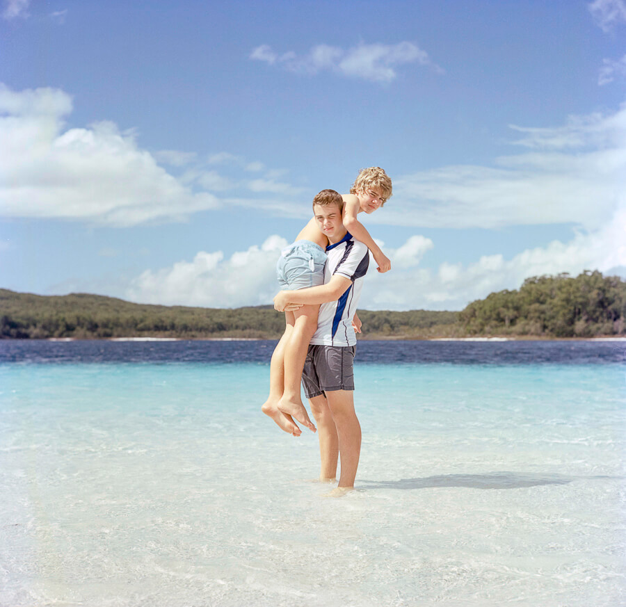 seeing a way back - boys messing in lake mckenzie fraser island .jpg