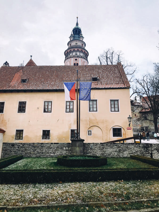 The Reluctant Photographer - Český Krumlov Czech and EU Flags.jpg