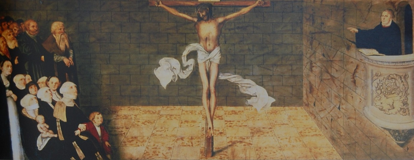 This painting of Jesus is by Lutheran artist Lucas Cranach. In it, Martin Luther is depicted preaching Christ Crucified to the congregation. This Jesus is the foundation of our faith.