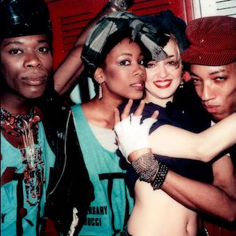 Madonna and her dancers at the 15th anniversary of Fiorucci at Studio 54 (1983)