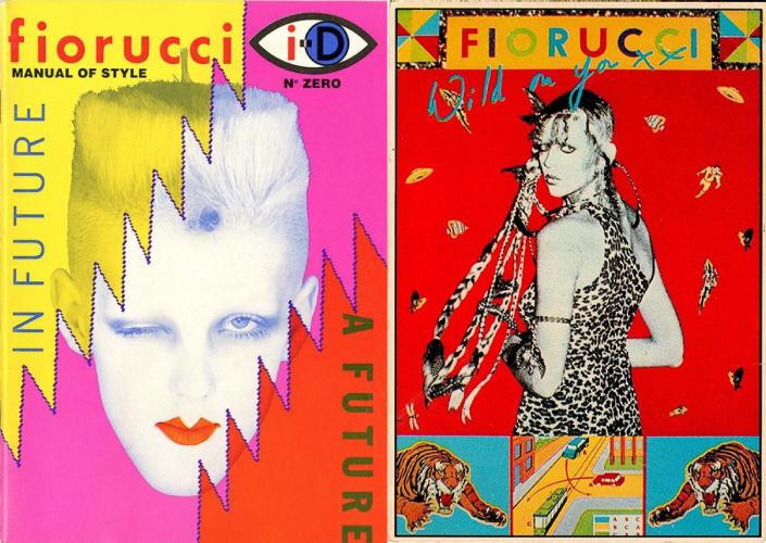 On the left: Fiorucci fanzine On the right: a poster by Vittorio Spaggiari for Fiorucci (1976)