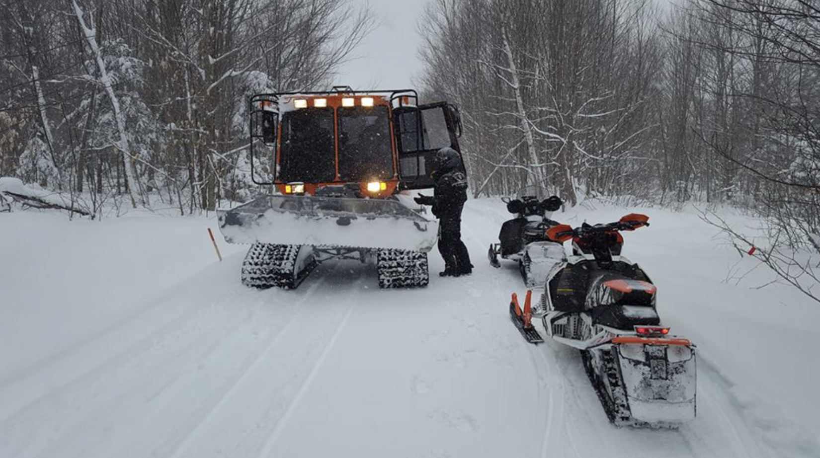 Brian in his Tucker Sno-Cat grooming Trail 2001.