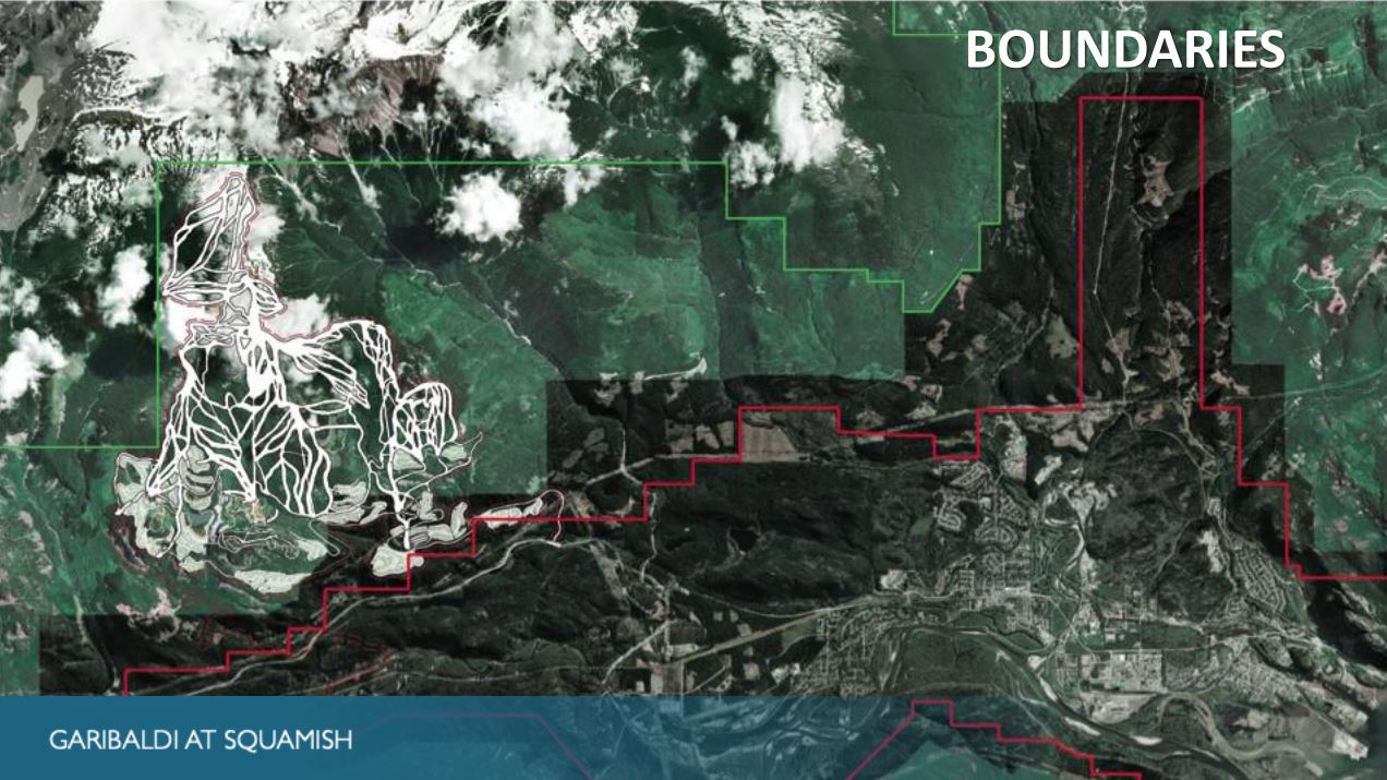 Current District of Squamish Boundaries (Red), Garibaldi Park Boundary (Green) and the Resort Area to Phase 4.