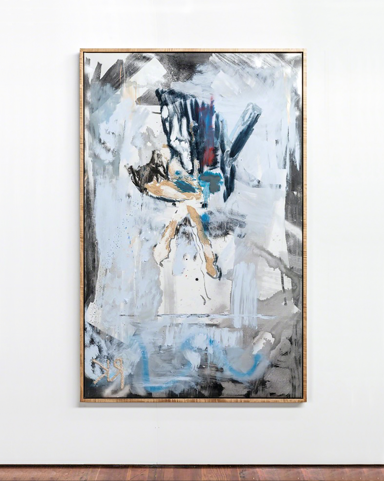 Rosy Kyser-Leitmotif-2019-Aluminum enamel, oil, spray paint, charcoal, and sawdust on oil primed linen-78 in ×50 in-98.1 cm × 127 cm.jpg