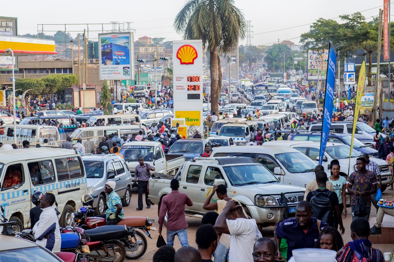 A regular traffic day in Kampala, Uganda