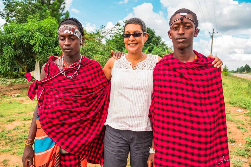 Me with two Masai brothers @Amina Mohamed Photography