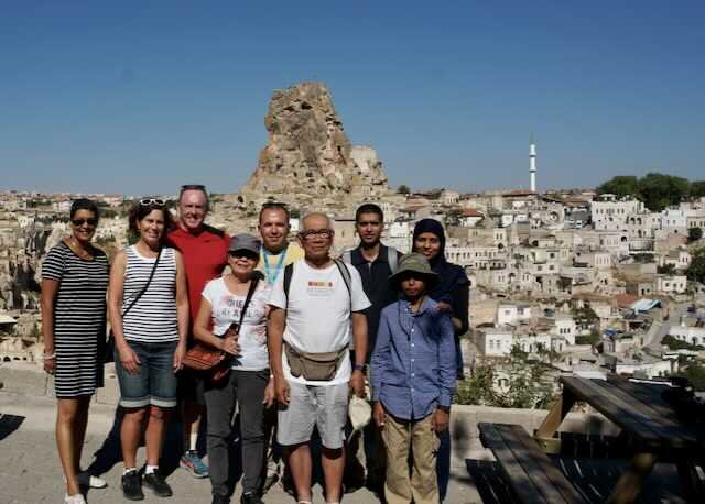 Me (striped dress) with Dennis and Sally (red shirt/striped top) and group in Cappadocia