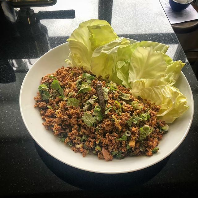 If you can dream it, you can larb it. Gefilte fish larb. Actual gefilte fish. Part of our Thai Passover. More in stories, etc. Totally normal Seder.