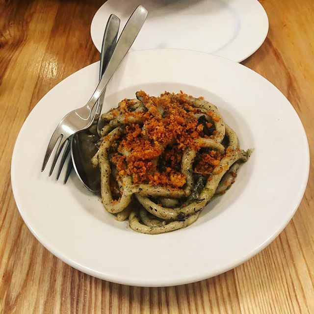 Wild onion pici @brothers_toronto, reviewed on today's @cainandtable podcast—a new podcast hosted by me and my brother, @jeremyfryingpan. Link in @cainandtable bio. . . . . #torontoeats #tastetoronto #foodtoronto #foodto #torontofood #torontofoodie #tastethesix #podcast