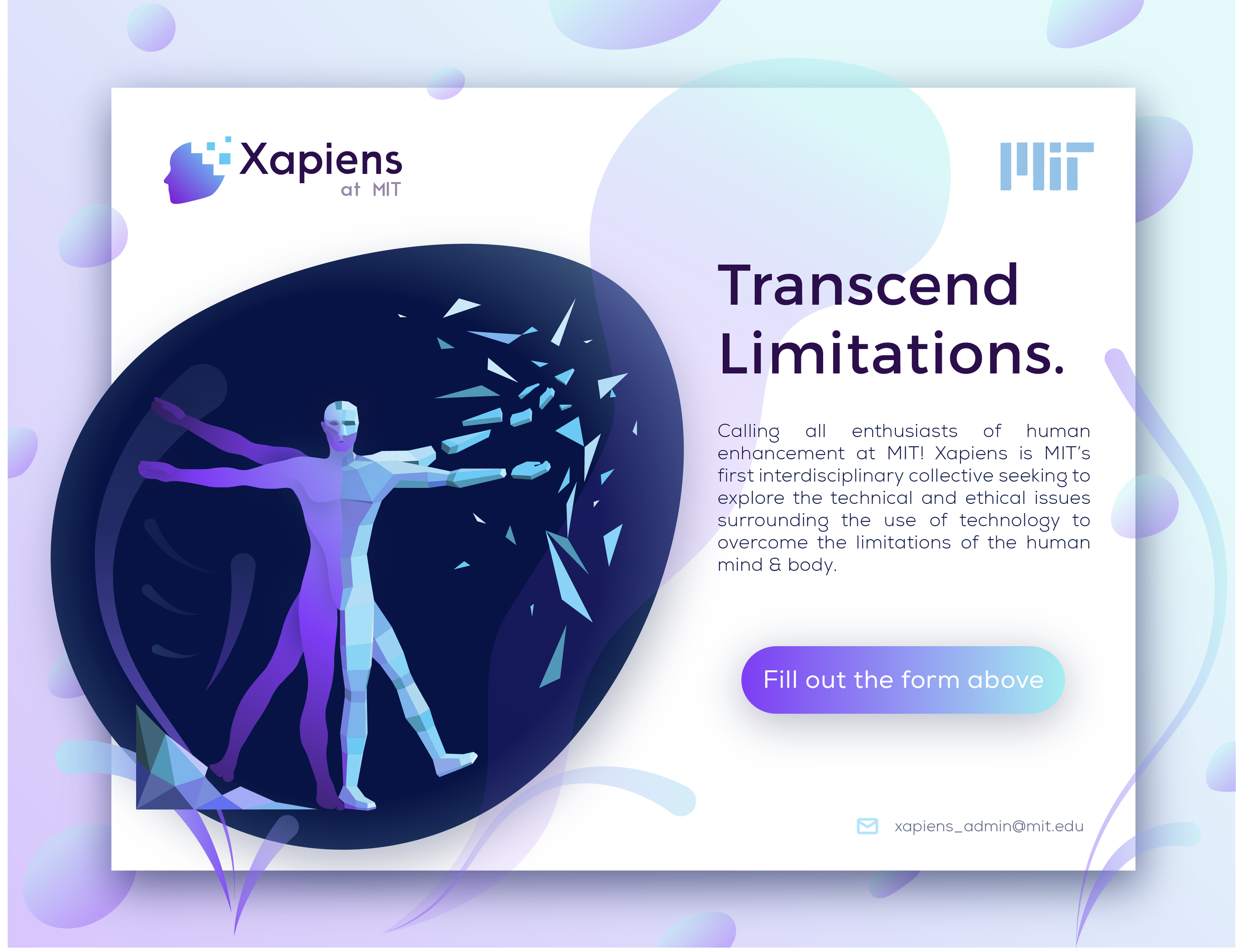 First post on Social Media used this illustration — more than 80 MIT students filled out the Google Form to help shape Xapiens's direction and vision.  Designed by Siranush Babakhanova.