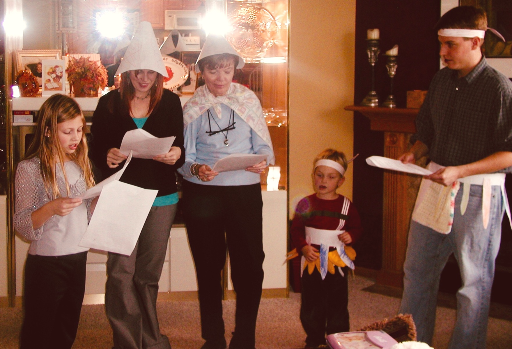 Emily directing her family in the annual Thanksgiving Play