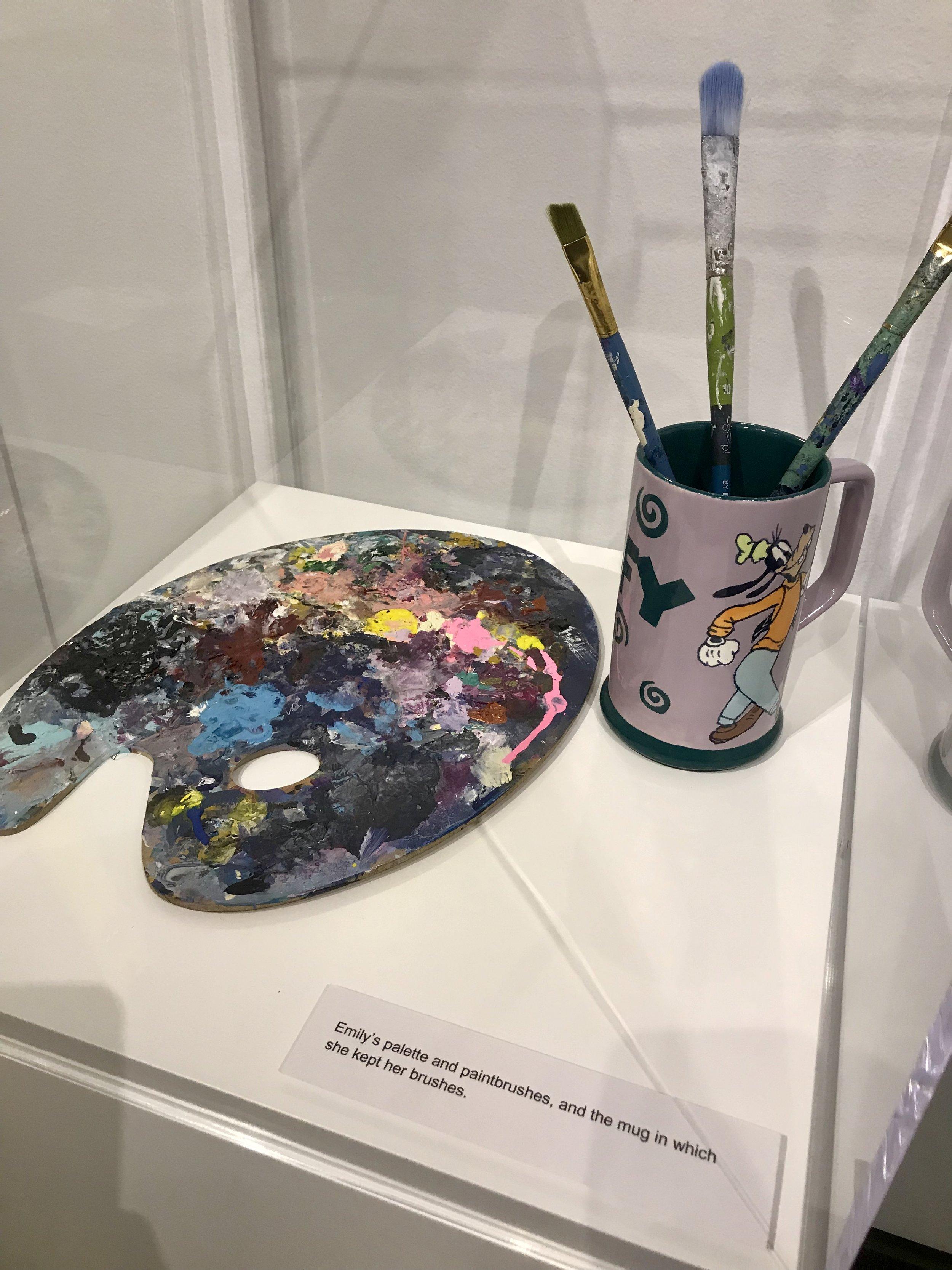 Emily's Palette, brushes & Goofy Mug