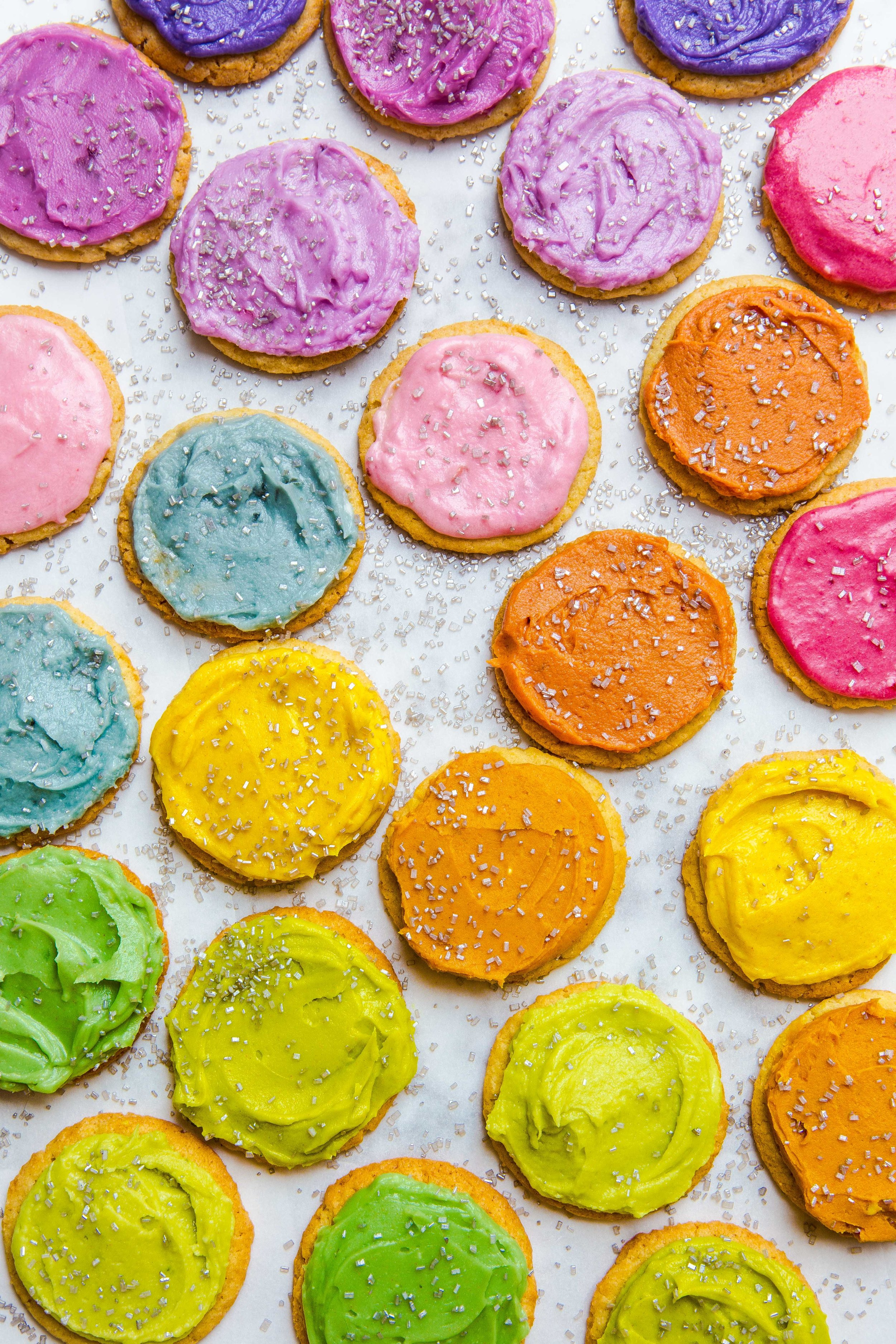 PS. If you don't like using regular food coloring check out my  Ultimate Guide to Making Vibrant Natural Dye Free Food Coloring & Frosting ! This photo shows off all of the colors that you can make using my recipe! :)