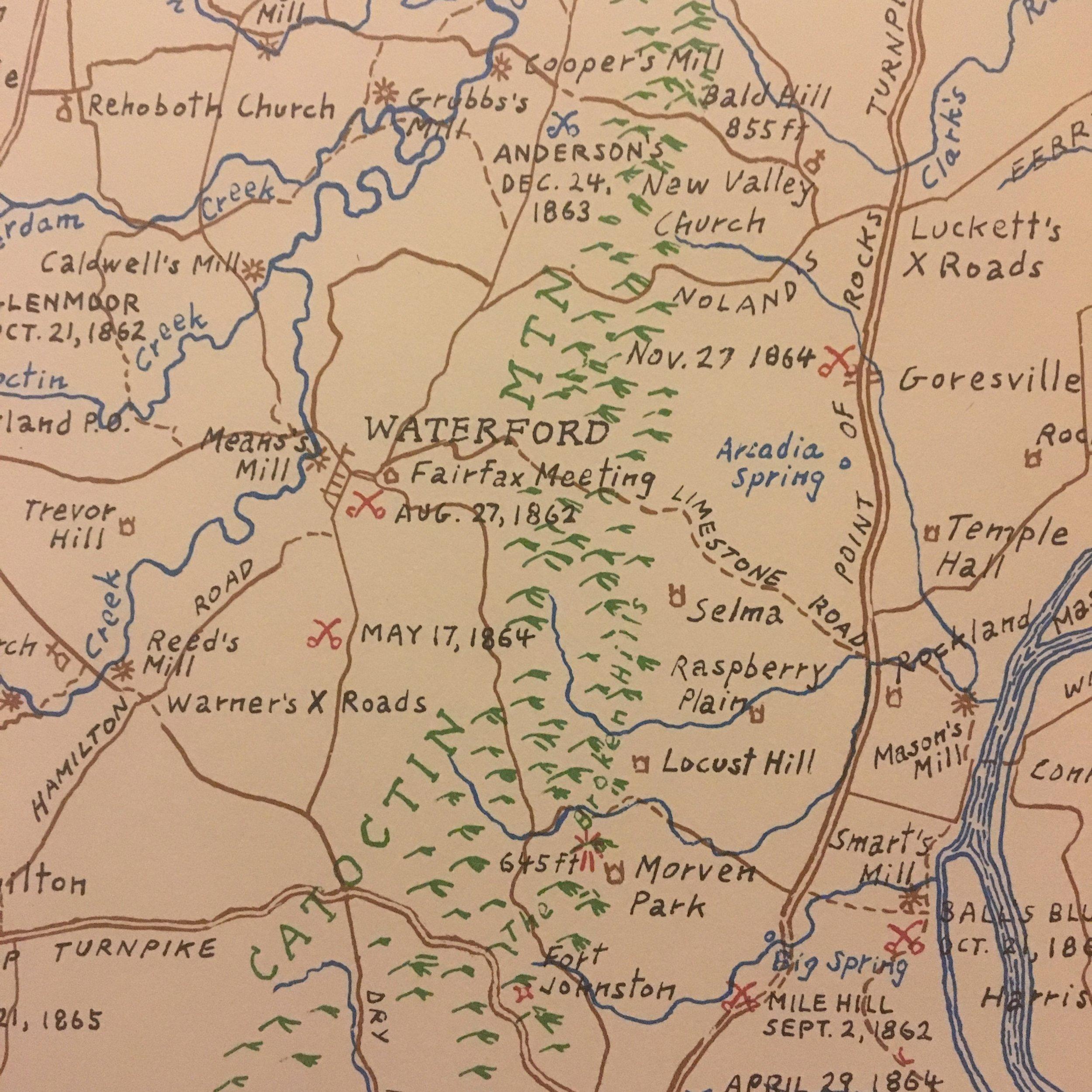 Hand drawn map of Waterford, Virginia by Eugene Scheel