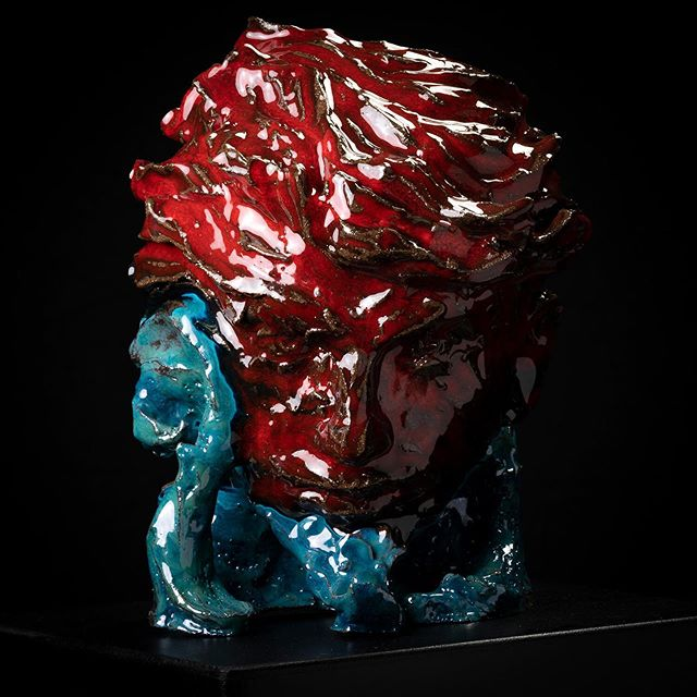 """""""Rosebud"""" 2019 ceramic head 30x22x19 by Sergey Sovkov https://www.blauetauben.com/ceramic/rosebud #art#artist#ceramics #gayartwork#gayartist#contemporaryart #artwork#sculpture#interior#kunst #gayaustria#handmade #color#myart#amazing##gayartist#wien #österreich"""