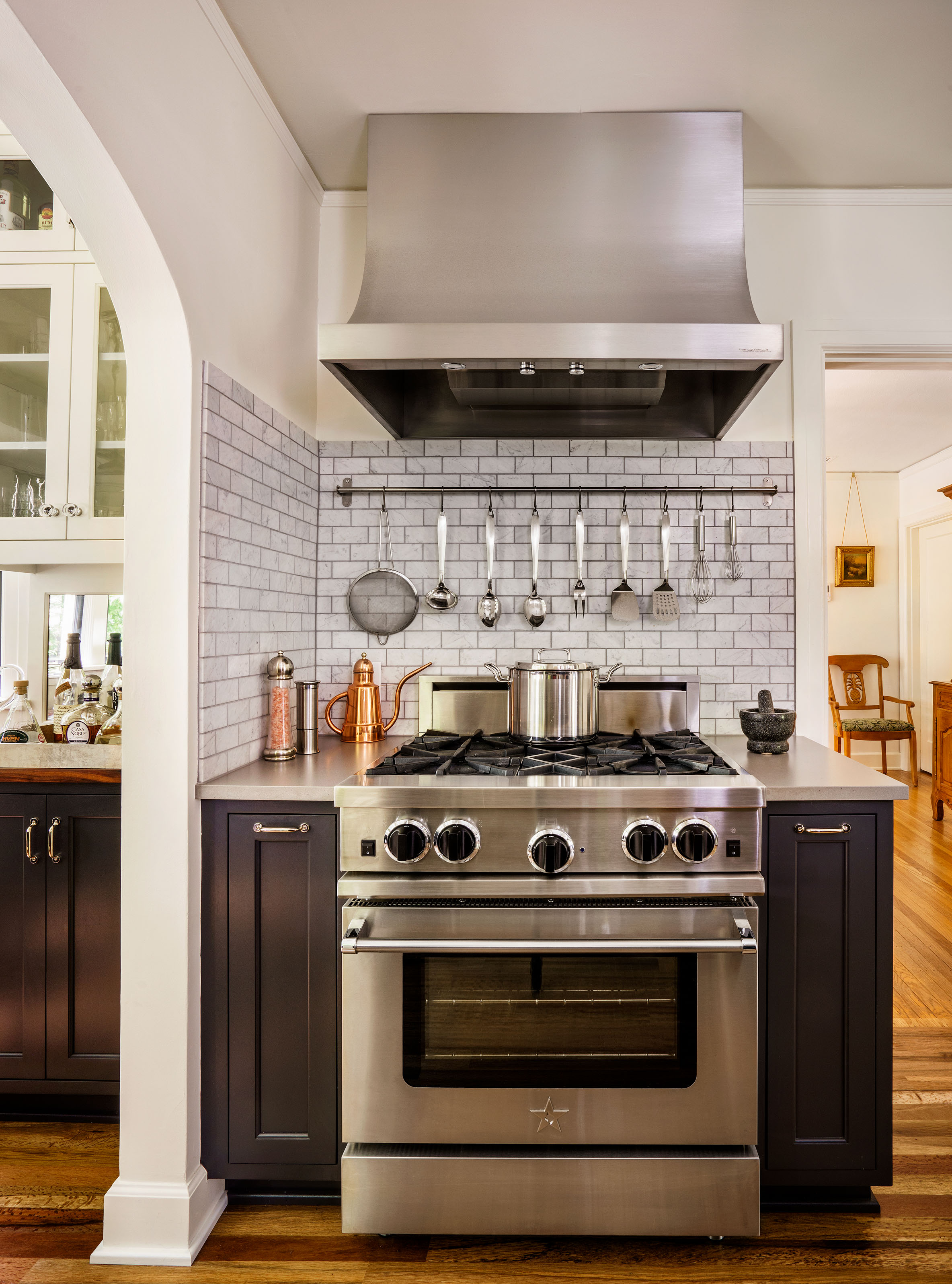 Stainless steel adds to chef's kitchen style.