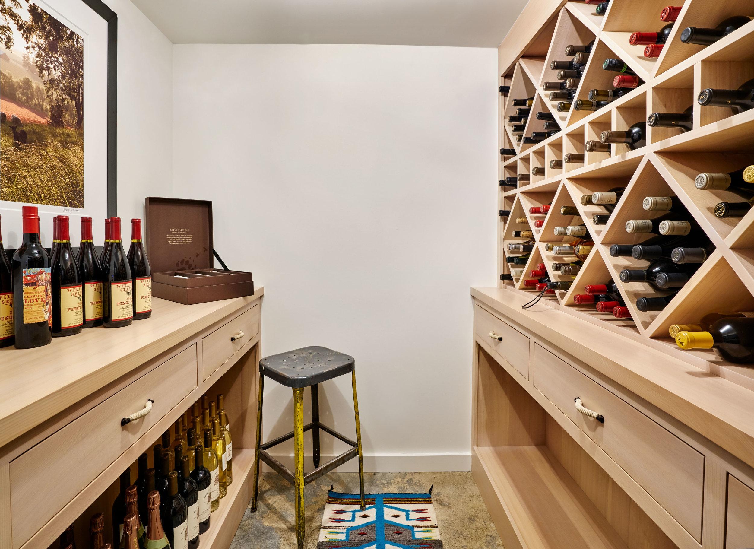 Wine cellar custom spruce built-ins.