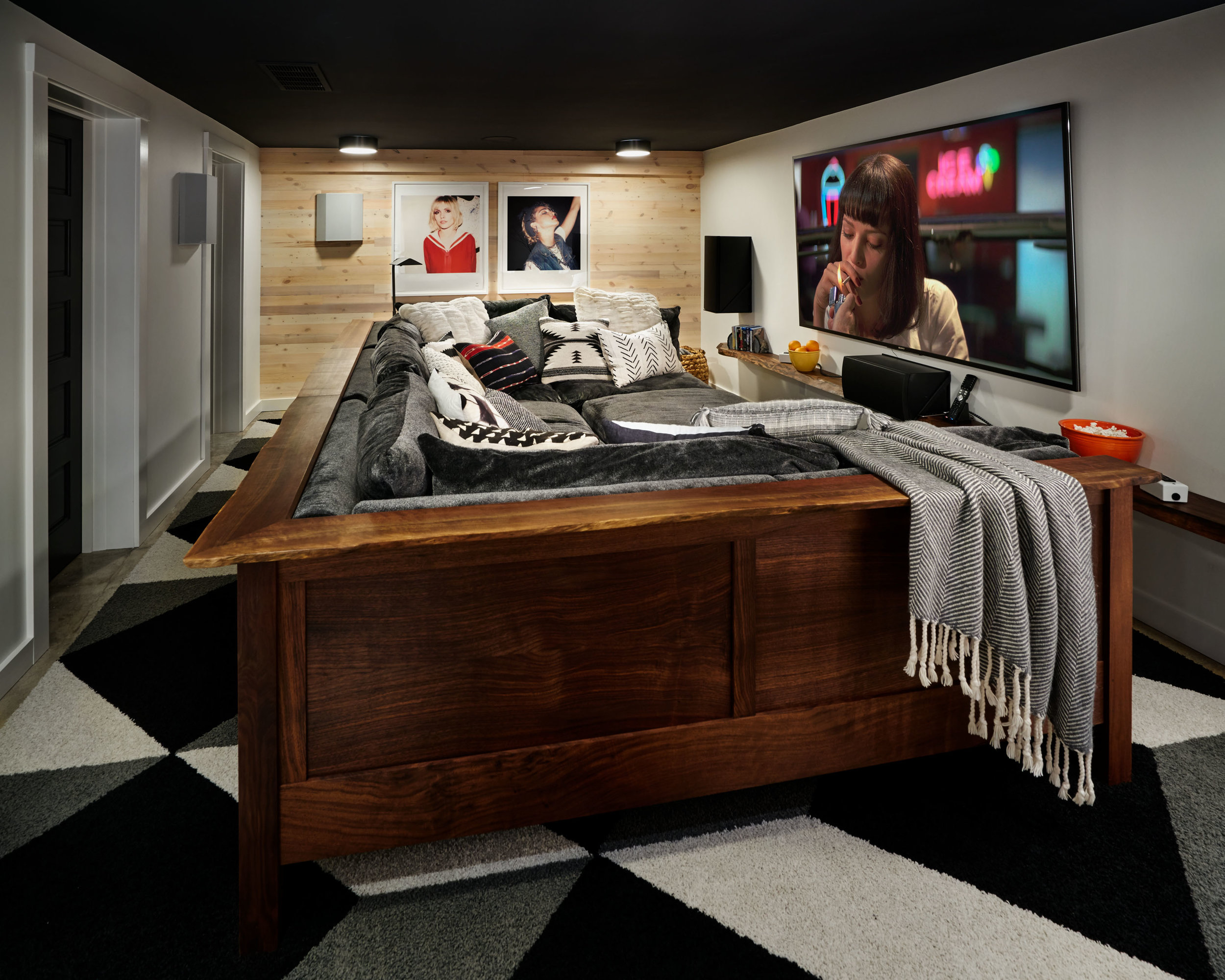 Cozy home theatre with custom sofa.