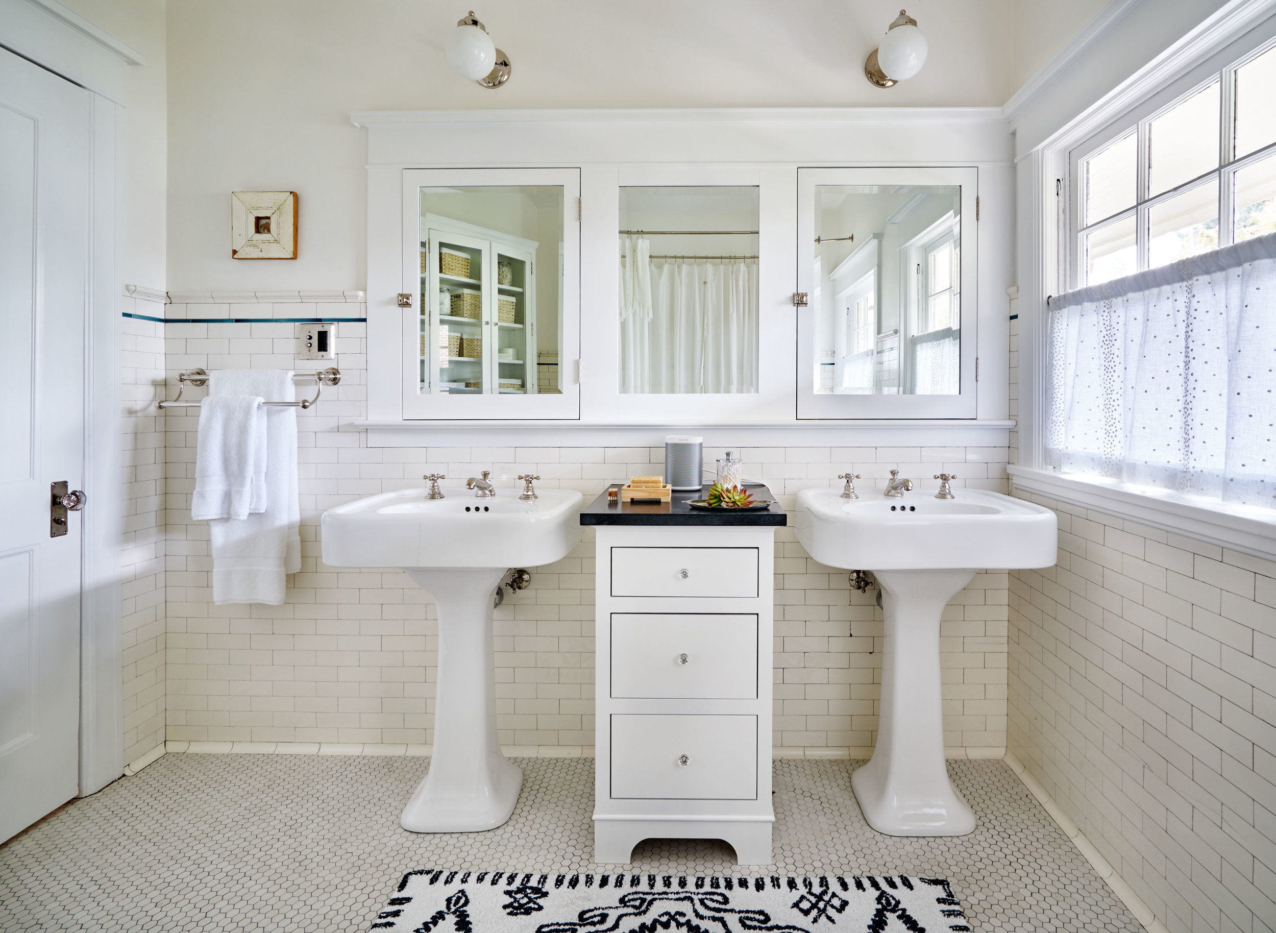 Added sink and medicine cabinet blend with original in upstairs bath.