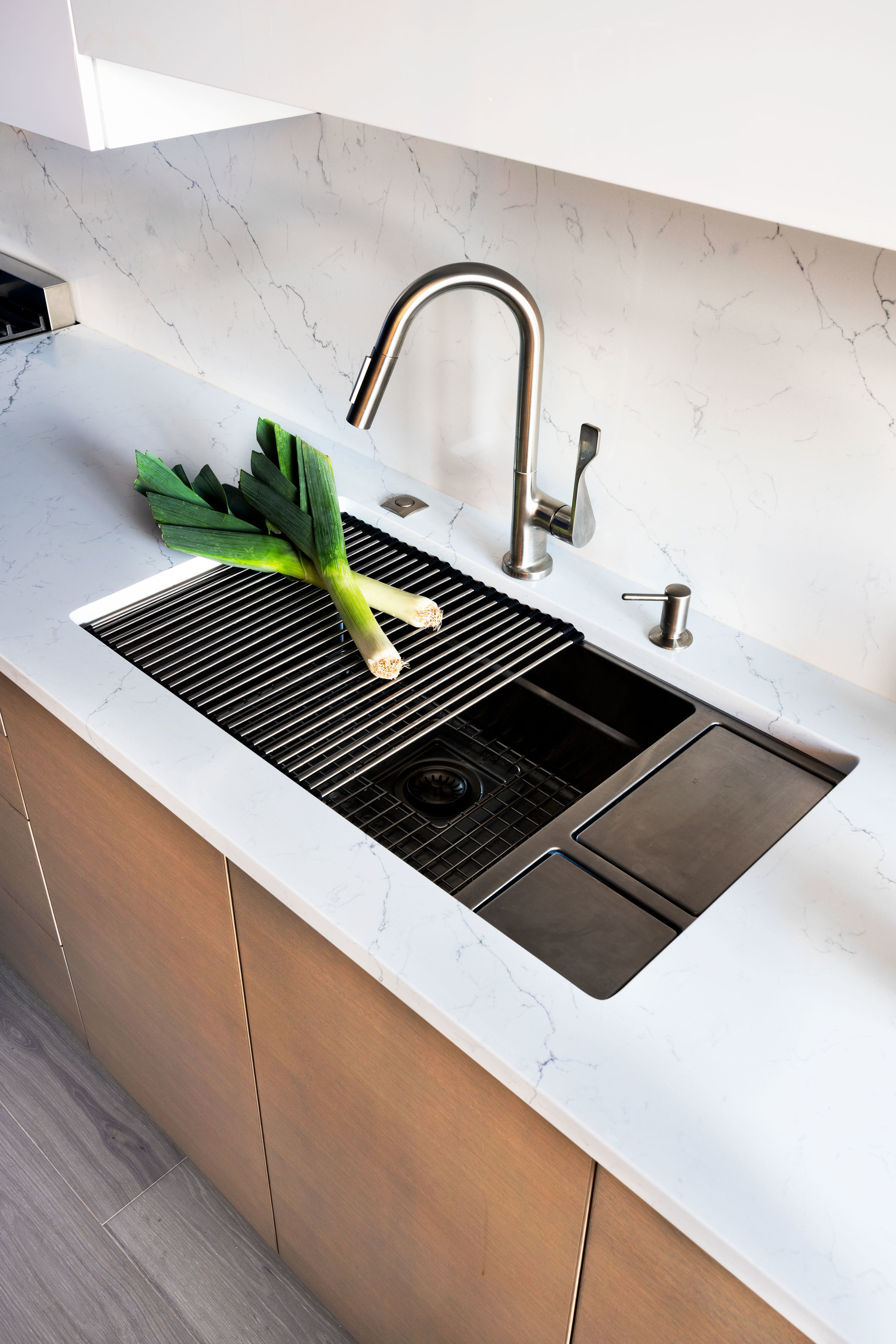 Westover double sink with counter expansion.