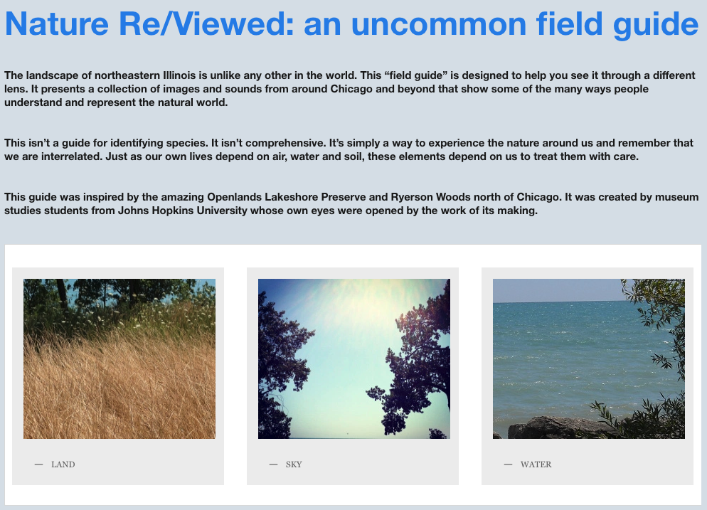 "NATURE RE/VIEWED: AN UNCOMMON FIELD GUIDE    The title says it all; this digital ""field guide"" presents a collection of images from the greater Chicago area that show some of the many ways people understand and represent Land, Water and Sky. It was the capstone project of a seminar I taught for the Johns Hopkins museum studies graduate program. See    http://uncommonfieldguide.wordpress.com/"
