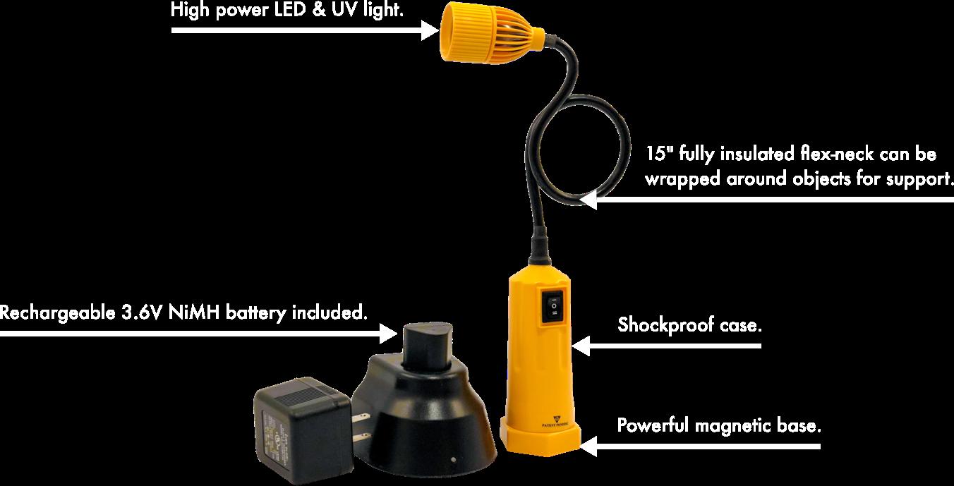Rechargeable Flexible LED Work Light Diagram